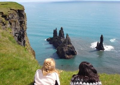 Taking in the view of Reynisdrangar from our unique vantage point