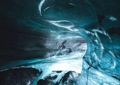 A magnificent blue ice cave
